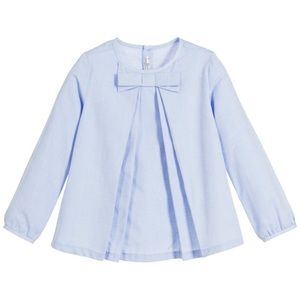 BNWT Mayoral Blue bow pleated blouse Button back